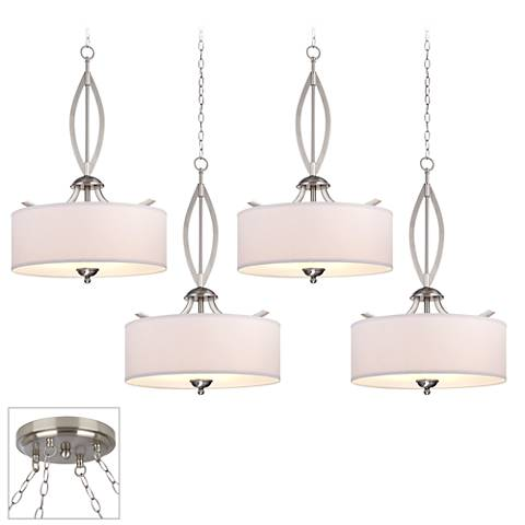 Possini Euro Azle Brushed Steel 4-Light Swag Chandelier