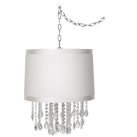 "Nicolli Clear 16"" Wide Off-White Drum Mini Chandelier"
