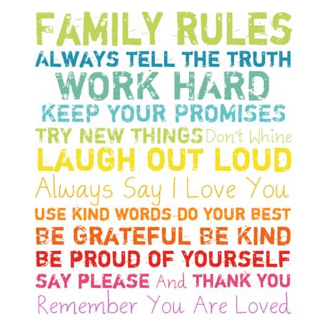 """Family Rules Wall Art family rules multi-color 20"""" high motivational wall art - #y0515"""