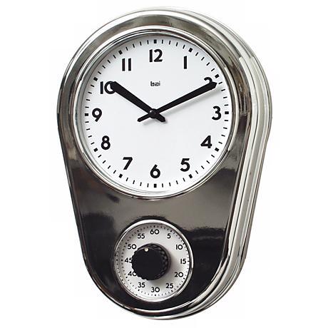 "Retro Chrome Silver 8 1/2"" Wide Kitchen Timer Wall Clock"