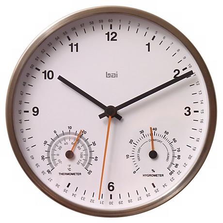 """White 6"""" Wide Weather Station Wall Clock"""
