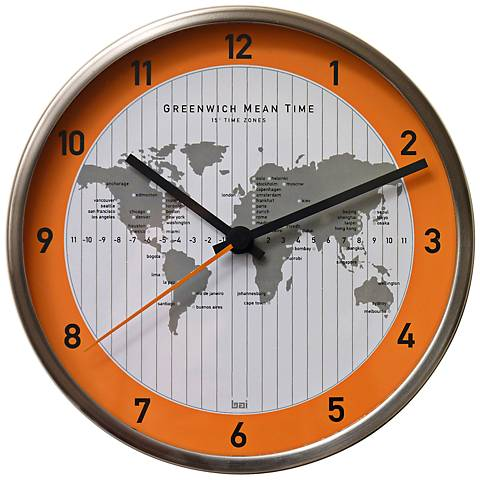 """GMT Silver Stainless Steel 6 1/2"""" Round Wall Clock"""