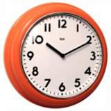 "Retro 12 1/2"" Wide Orange School Wall Clock"