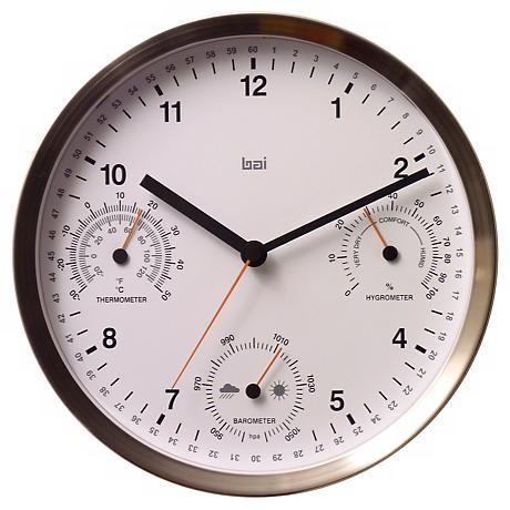 """Brushed Stainless Steel 10""""W Weather Station Wall Clock"""