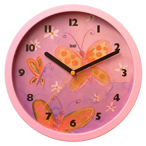 "Butterflies 10"" Wide Children's Wall Clock"