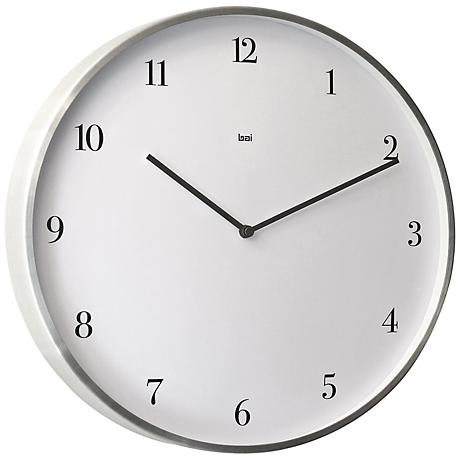 "Bodoni Brushed Aluminum 15"" Round Wall Clock"