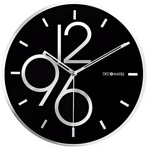 "Decomates Sharp Black Shimmer 9 3/4"" Wide Silent Wall Clock"