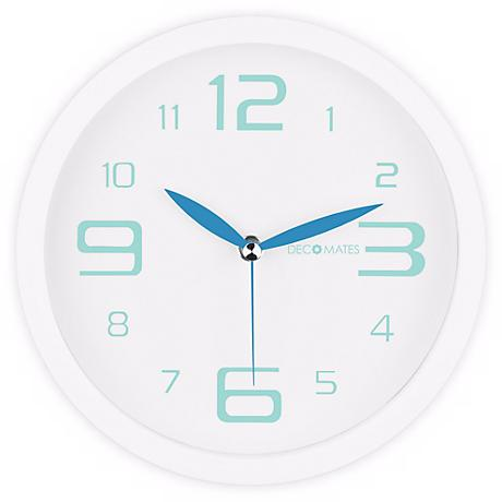 "Decomates Fresh Blue and White 8 1/4"" Wide Silent Wall Clock"