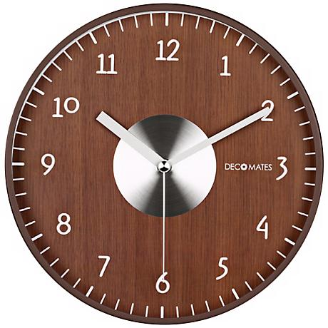 """Decomates Brown and Silver 9 3/4"""" Wide Silent Wall Clock"""