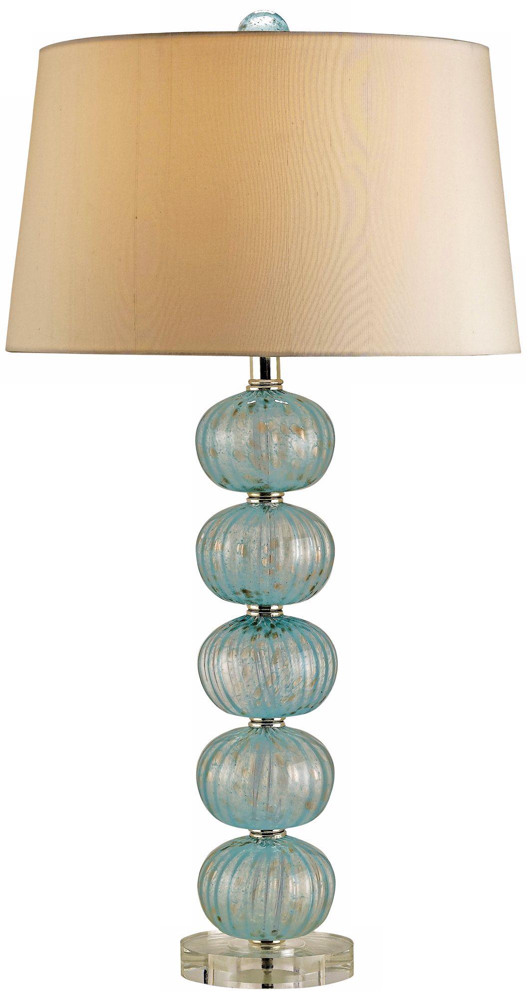 Currey And Company Asturias Aqua Blown Glass Table Lamp