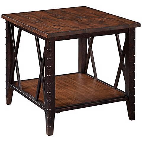 Fleming Rectangular Rustic Pine End Table