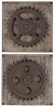 "Uttermost Set of 2 Rustic Gears 17"" Square Wall Art"