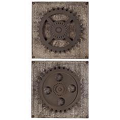 """Uttermost Set of 2 Rustic Gears 17"""" Square Wall Art"""