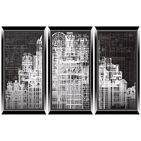 Urban City Triptych Set of 3 Architectural Wall Art Prints
