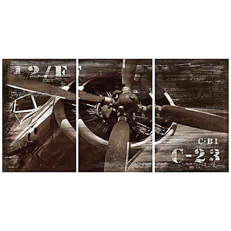 Vintage Airplane Triptych Set of 3 Canvas Wall Art