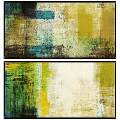 Green Abstract Diptych Set of 2 Wall Art