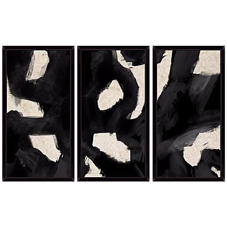 Black Swirls Triptych Set of 3 Abstract Wall Art