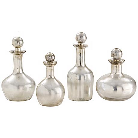 Set of 4 Blythe Large Silver Glass Decanters