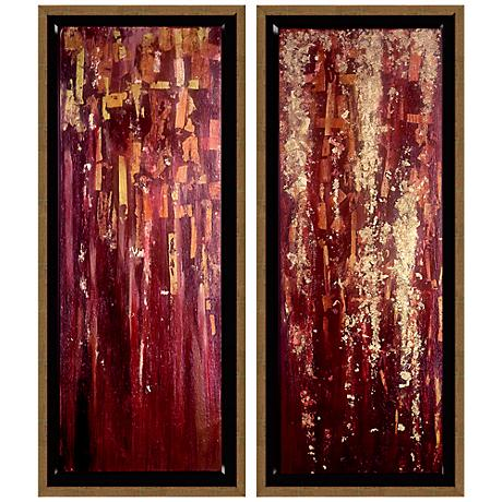 Red Diptych Set of 2 Abstract Wall Art