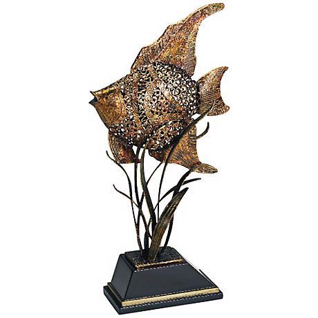"Catalina Openwork Iron 32"" High Fish Sculpture"