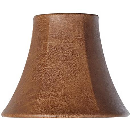 Brown Faux Leather Lamp Shade 3x6x5 Clip On Y1843
