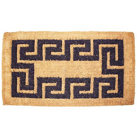 """Imperial Greek Key 1'8""""x2'9"""" Beige Coir Door Mat"""