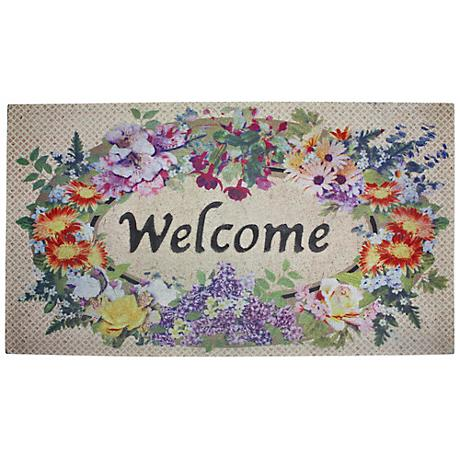 """Floral Welcome 31"""" Wide Recycled Rubber Door Mat"""