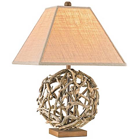 Currey and Company Driftwood Sphere Wood/Iron Table Lamp