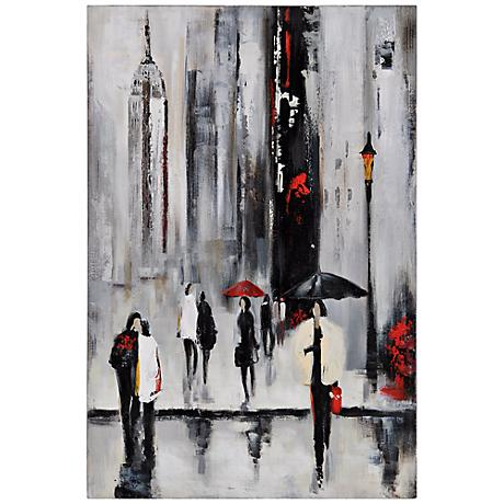 """Bustling City I 34"""" Wide Hand-Painted Wall Art"""