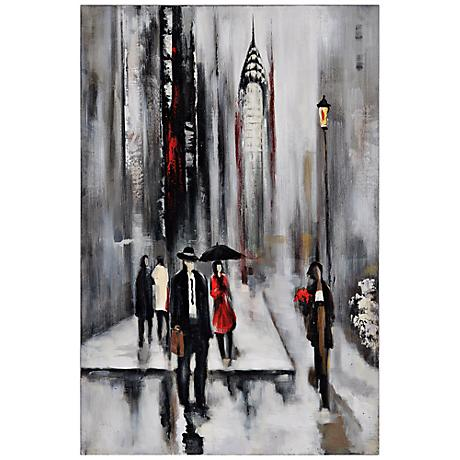 """Bustling City II 34"""" Wide Hand-Painted Wall Art"""