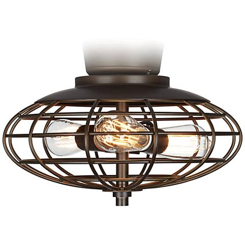 Oil Rubbed Bronze Industrial Cage 3-60 Watt Ceiling Fan Light Kit
