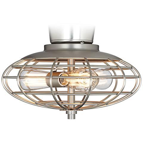 Brushed Nickel Industrial Cage  3-60 Watt Ceiling Fan Light Kit