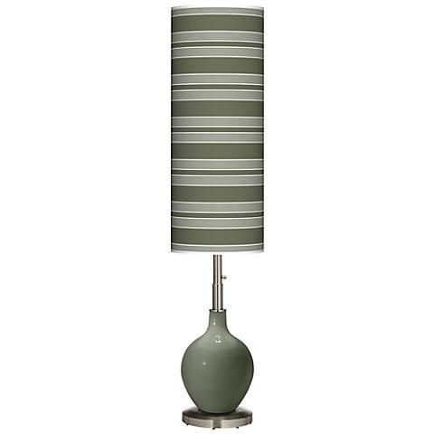 Deep Lichen Green Bold Stripe Ovo Floor Lamp