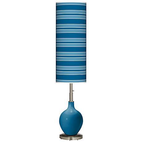 Mykonos Blue Bold Stripe Ovo Floor Lamp