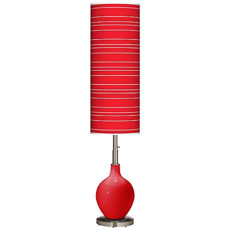 Bright Red Bold Stripe Ovo Floor Lamp