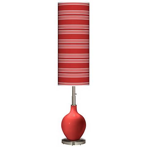 Cherry Tomato Bold Stripe Ovo Floor Lamp