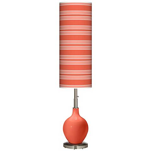 Daring Orange Bold Stripe Ovo Floor Lamp