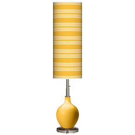 Goldenrod Bold Stripe Ovo Floor Lamp