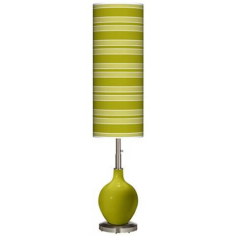 Olive Green Bold Stripe Ovo Floor Lamp
