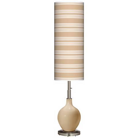 Colonial Tan Bold Stripe Ovo Floor Lamp