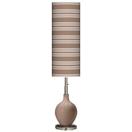 Mocha Bold Stripe Ovo Floor Lamp