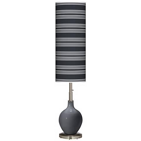 Black of Night Bold Stripe Ovo Floor Lamp