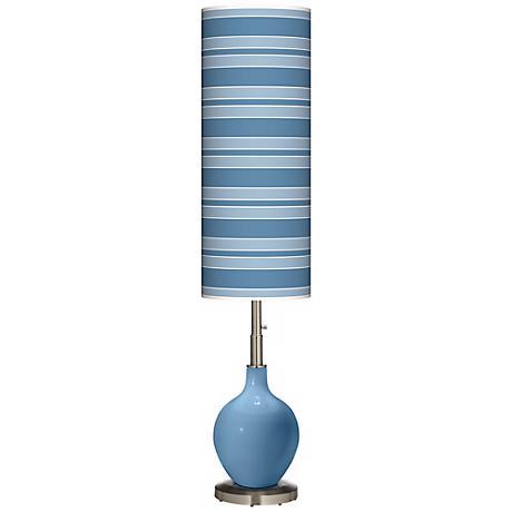 Secure Blue Bold Stripe Ovo Floor Lamp