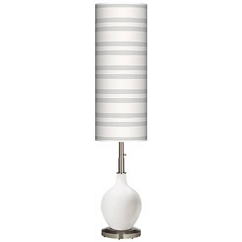 Winter White Bold Stripe Ovo Floor Lamp