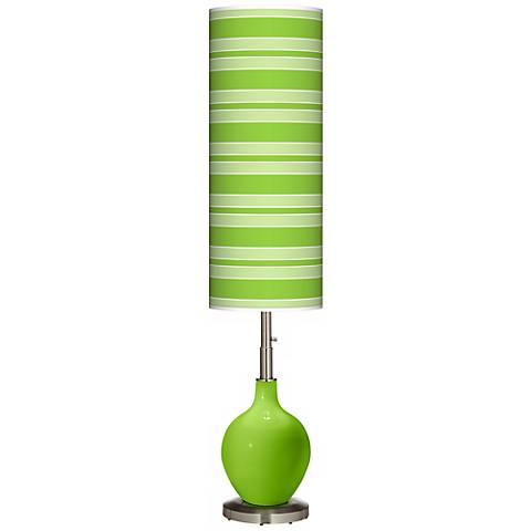 Neon Green Bold Stripe Ovo Floor Lamp