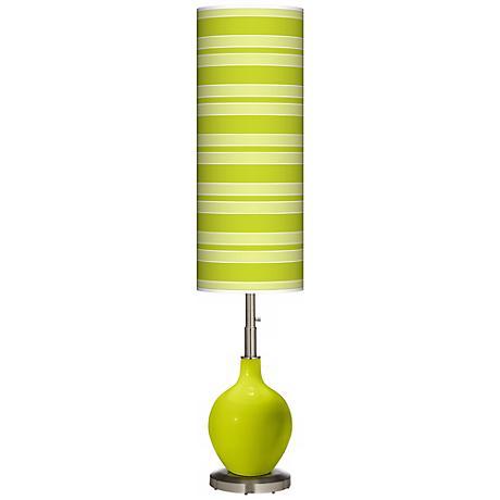 Pastel Green Bold Stripe Ovo Floor Lamp