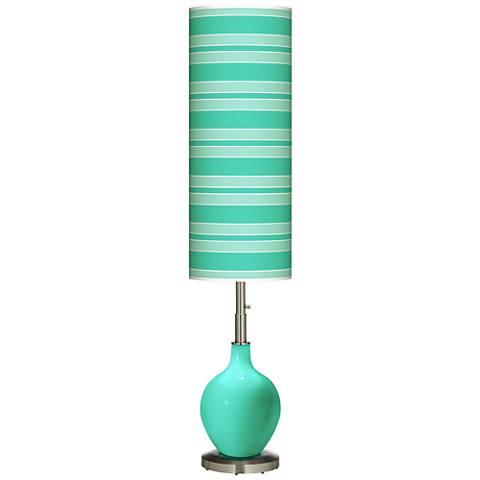 Turquoise Bold Stripe Ovo Floor Lamp