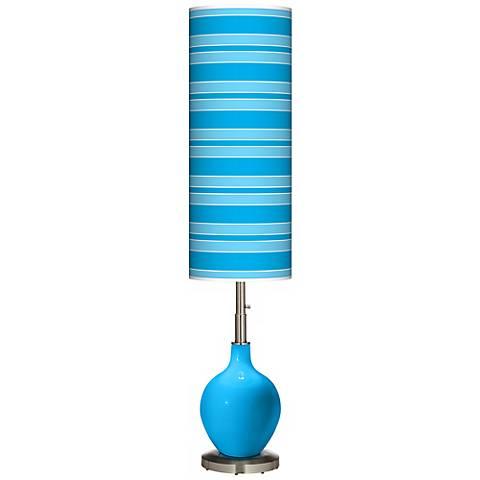 Sky Blue Bold Stripe Ovo Floor Lamp
