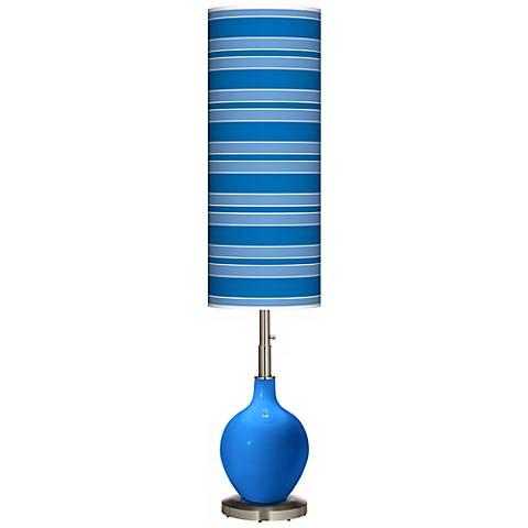 Royal Blue Bold Stripe Ovo Floor Lamp