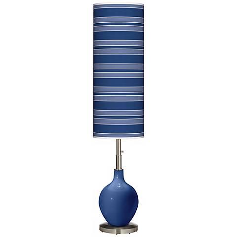 Monaco Blue Bold Stripe Ovo Floor Lamp